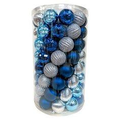 100ct 60mm Silver Dark Blue Shatterproof Christmas Ornament Set - Wondershop™
