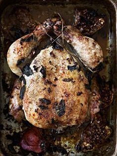 Kylling i ovn med granatæble, mynte, citron og spidskommen