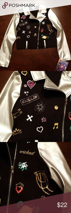NWT Disney Descendents moto jacket NWT size XS(6) Disney D Signed Descendents black and silver moto jacket. Faux silver leather arms, black body, rhinestone accents, zipper opening. From Disney's Descendents collection. My daughter loves it! (She has a bigger one). Disney Jackets & Coats