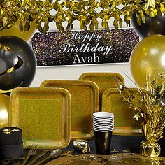 black and gold party decorations | gold prismatic ultimate kit n kaboodle kit our gold prismatic ultimate ...