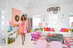fretwork panels as room dividers - Maria Barros Home, would love this for the teenagers hangout or pool house right down to the pink flamingoes - gorgeous!