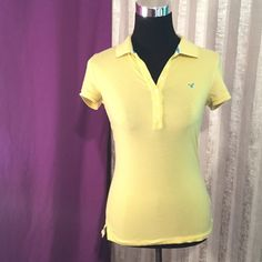Short sleeve button front top Yellow with blue accent button front top. American Eagle Outfitters Tops