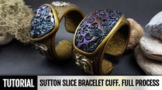 DIY How to make Unique Sutton Slice Bracelet Cuff. Polymer clay Jewelry ...
