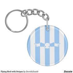 Flying Bird with Stripes Acrylic Key Chain  Available on more products! Use the design name to search my Zazzle Products Page.  #eagle #bird #flight #flying #fly #feather #wings #blue #sky #take #white #animal #nature #planet #earth #illustration #silhouette #chic #contemporary #buy #sale #zazzle #key #chain