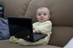Baby & Laptop: if my daughter is anything like her dad then this will be her first year picture lol