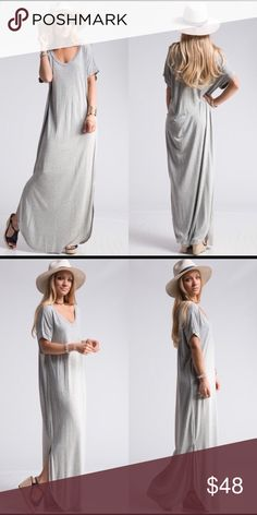 ✨COMING SOON✨ GORGEOUS LONG GRAY DRESS FOR FALL 🍂 Beautiful gray maxi dress that is perfect for the fall weather 🍂🎃☕️ COMING SOON!! Dresses Maxi