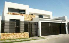 Fachadas de casas modernas  con rejas horizontales Garage Design, Exterior Design, House Design, House Front, My House, House Extension Plans, Home Fencing, Normal House, Spanish House