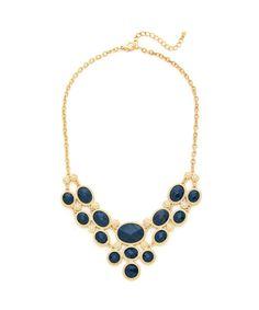 Paris Romance Jewel Necklace - Gold and Blue $12