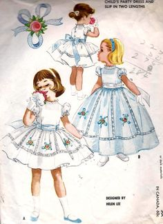 1960s Girls Party Dress Vintage Sewing Pattern In 2 Lenghts with Slip Pattern McCall's 2385 Size 3