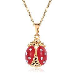 Red & Black Enamel 14K Gold Plated Ladybug Pendant With 1...