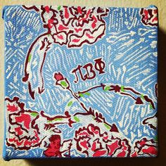 DIY Pi Phi Lilly Pulitzer print canvas craft #piphi #pibetaphi
