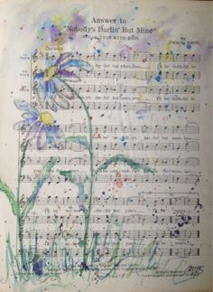 Bella Cosa Art Day 7 Daily Painting watercolor on repurposed vintage sheet music