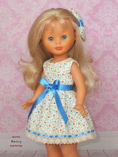 Nancy entre costuras: En azul Girl Doll Clothes, Doll Clothes Patterns, Clothing Patterns, Girls Dresses, Flower Girl Dresses, Summer Dresses, Og Dolls, Wellie Wishers Dolls, Kool Kids