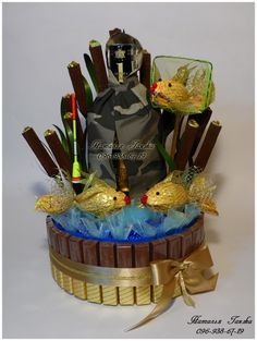 Букеты и композиции из конфет в Киеве » Blog Archive » Композиция из конфет «Рыбалка»