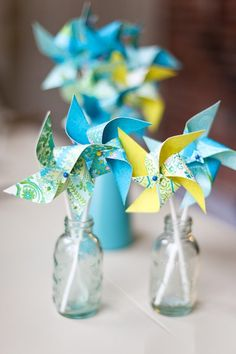 So cute!    Pinwheels- Set of 12 Twirlable Paper Pinwheels- 'Sweet Blues' Wedding Favors- Paper Goods