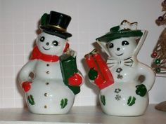 Vintage Christmas Snow Couple s P Shakers No Marks | eBay