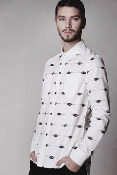 Męska koszula od Anety Szydło, powstała z drukowanej przez nas popeliny :)