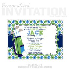 Golf Birthday Party Invitations personalized by PinkPickleParties