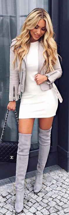 #winter #outfits white long-sleeved bodycon mini dress