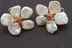 Petal pearl (keshi pearl) earrings, ruby center. 18K gold over sterling silver #SterlingSilverOutfit