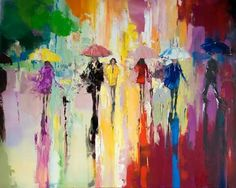 Buy 'Rainbow Walk', Oil painting by Ewa Czarniecka on Artfinder. Discover thousands of other original paintings, prints, sculptures and photography from independent artists. Acrylic Painting Flowers, Oil Painting On Canvas, Watercolor Paintings, Umbrella Painting, Umbrella Art, Amazing Paintings, Original Paintings, Texture Art, Love Art