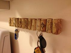 DIY -recycled corks key rack