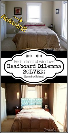 headboard to the wall over a window. with room for your curtains to hang! {Sawdust and Embryos}Installing your headboard to the wall over a window. with room for your curtains to hang! {Sawdust and Embryos} Bed Without Headboard, Window Headboard, Headboard Decor, Window Bed, Bed Against Window, Window Behind Bed, Dream Bedroom, Home Bedroom, Diy Bedroom Decor