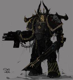 Iron Warrior by Warhammer 40k Art, Warhammer Models, Warhammer Fantasy, Chaos Lord, Chaos 40k, Chaos Tattoo, Ork Warboss, Bolter And Chainsword, Gundam Wallpapers