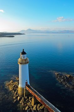 Eilean Bhan lighthouse, Kyle of Lochalsh, Scotland. Kyle of Lochalsh is a village on the northwest coast of Scotland, 63 miles west of Inverness. Photo Portugal, The Places Youll Go, Places To See, Kyle Of Lochalsh, Saint Mathieu, Lighthouse Pictures, Famous Castles, Beacon Of Light, Belle Photo