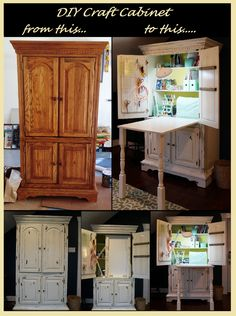Nice DIY Craft Cabinet From A $175 Used TV Armoire. DIY Paint Antiquing Sewing  Cabinet Plus A Pull Down Sewing Table. (Diy Furniture Repurpose)