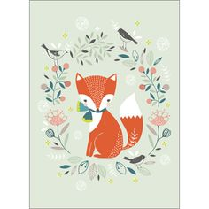 Flora Waycott poster vos 21 x cm Fuchs Illustration, Art And Illustration, Illustrations, A4 Poster, Fox Art, Woodland Creatures, Nursery Art, Cute Wallpapers, Cute Art