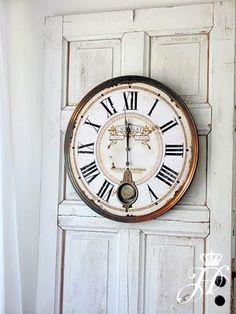 cool clock on a cool door