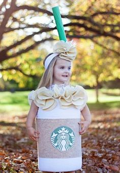 Pin for Later: 15 Insanely Adorable Starbucks Halloween Costumes For Kids of All Ages Tall Caramel Frappuccino kids costumes Tall Caramel Frappuccino Starbucks Halloween Costume, Diy Halloween Costumes For Kids, Homemade Halloween, Cute Costumes, Halloween 2018, Halloween Party, Costume Ideas, Costume For Kids, Group Halloween
