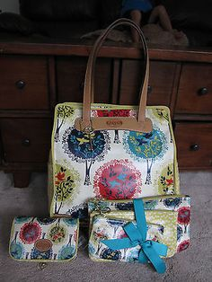 NWT 5 Pc Fossil Key Per LRG Tote Bag + Frame Cosmetic+ Triple Pouch Bright Multi