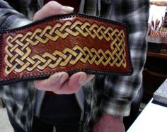Wallet / Men / Bi Fold / Celtic /  Norse / Hand Carved and Tooled / Leather / Custom / Hand made  / Man  / Tribal / Knot Work / Mans Wallet