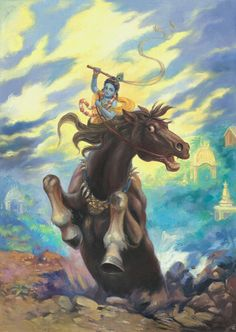 Krishna riding Kesi demon in one of His unlimited variations of eternal pastimes. Description found in the Sri Brhad Bhagavatamrta 3.6.260