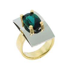 Blue Green Brazilian Tourmaline in Palladium, 22k & 18k Gold Ring