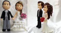 bride and groom toppers wedding cake toppers sugar models by Arte da Ka, Br