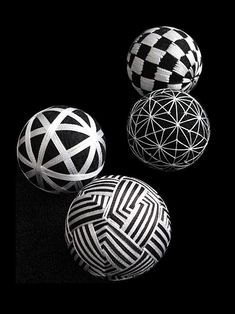 Ω Japanese traditional handmade balls, Temari 手鞠 Japanese Modern, Japanese Design, Japanese Culture, Japanese Art, Arte Linear, Temari Patterns, Zentangle, Art Populaire, Thread Art