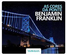 Ponte de Luz. Localizada na Filadélfia, a ponte Benjamin Franklin pode ser vista a 10 milhas de distância e liga a cidade até New Jersey. Ela é cercada por pontos de LED dos dois lados que mudam de cores dependendo da época do ano: no Dia da Independência, por exemplo, elas ficam nas cores da bandeira americana. E você, já conheceu uma paisagem assim também?