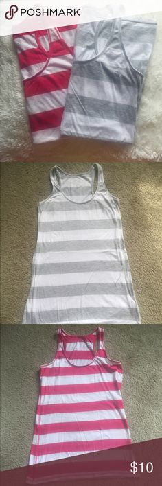 Racerback Tank Tops Two racer back tank tops, one pink and the grey. Both are in perfect condition. Aeropostale Tops Tank Tops