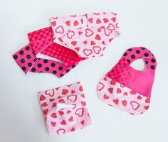 "3 Doll Diapers, Wipes with pouch, and Bib. Doll Accessories. Pretend Play. ""Be my Valentine"" print. By Mommy Can Sew, on Etsy."