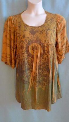 Womens Plus size Tunic 1x Shades of Gold Olive Hippie print Babydoll cut #DanielBenjamin #Tunic #Casual $18