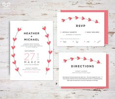 """PRINTED Wedding Invitation, RSVP, Direction, Enclosure, Information, Card, with Envelope, Lovely Handdrawn Watercolor Heart, """"Heather"""" Suite"""