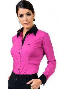 78654666a Camisas Femininas - Sua Moda Evangélica Feminina. camisa social feminina  com elastano violeta principessa ...