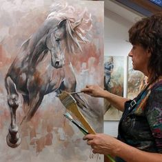 """Catharina Driessen's powerful paintings of horses in motion starts out as small sketches and studies, transforming into colorful, unique and impressionistic views of the horse. """"I like …"""