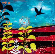 Carte de voeux Oiseaux nature carte de souhaits turquoise par Marika Lemay mixed media artiste de la boutique MarikaLemayArtiste sur Etsy