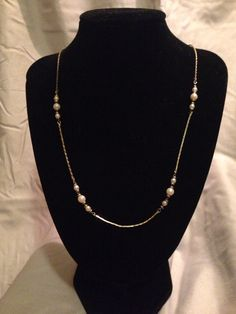 Vintage Fake Pearl Necklace on Gold Chain