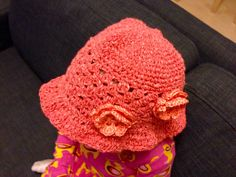 Summer hat for a child, yarn Novita Cottonella