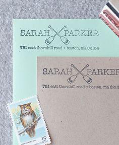Crossed Paddles Return Address Stamp